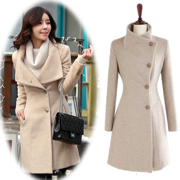 Online Shop Top Quality 2015 Women Wool Coat Long Single Breasted ...