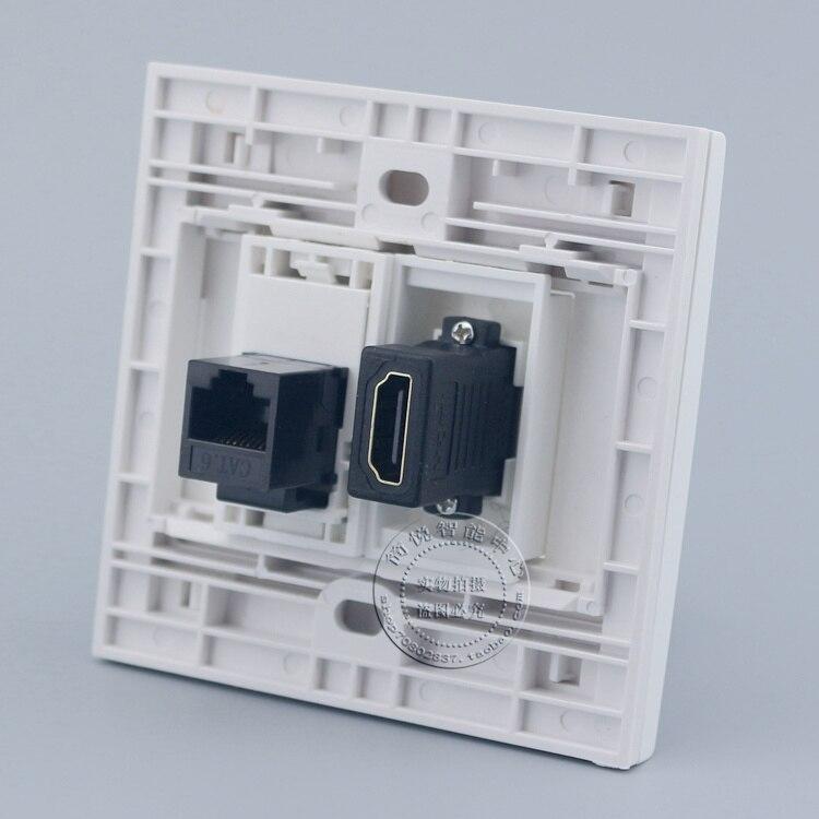 Wall Socket Plate 2 Ports RJ45 CAT6 Network LAN & HDMI Panel Faceplate Outlet wall socket 4 ports single port network lan cat6 rj45