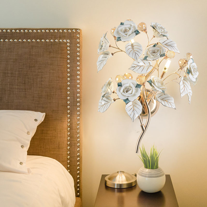 European style bedroom wall lamp bedside lamp wall lamps candle LED crystal lamp living room backdrop aisle Hotel wall sconce ...