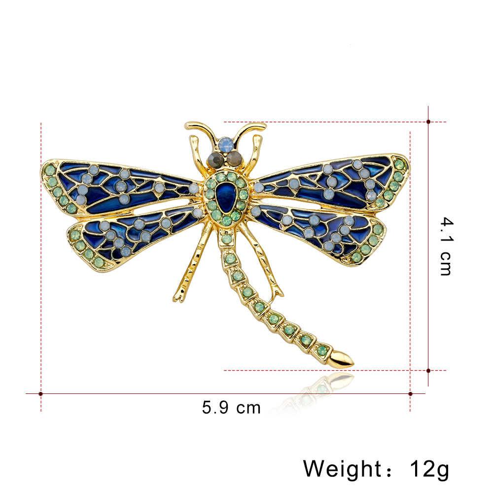 Rinhoo броши в виде стрекозы из натуральных животных синего и зеленого цвета для женщин, мужские ювелирные изделия, аксессуары, Подарочная брошка на булавке
