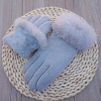 Winter Gloves Fashion Rabbit hair Wool Knitted Double layer Plus velvet thickening Warm touch screen Gloves Women Driving Mitten