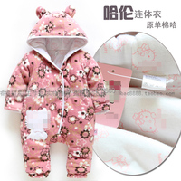 Free shipping new 2014 autumn Winter baby rompers newborn baby clothes kids warm cotton jumpsuits baby girl cat flowers overall