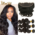 7A Brazilian Virgin Hair With Closure Ear To Ear Lace Frontal Closure With Bundles Human Hair Brazilian Body Wave With Closure