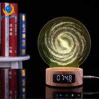 Hot 2018 New Bluetooth Alarm Clock Projection Audio Galaxy 3D Night Light Colorful Digital Table Wooden Clock Gadgets Electronic