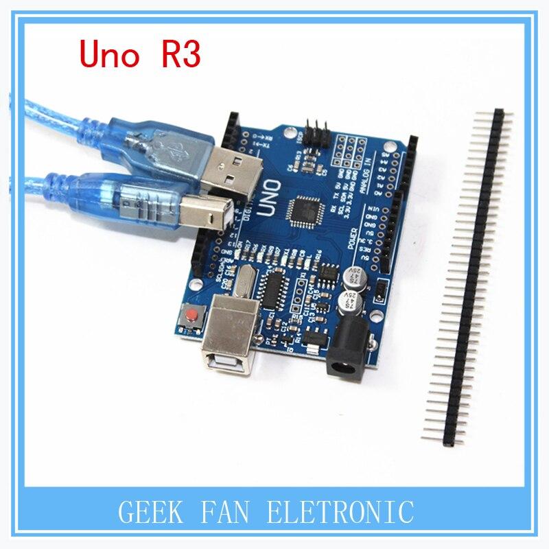 high quality 5 PIECES UNO R3 MEGA328P CH340 CH340G for Arduino UNO R3 + USB cable open smart uno atmega328p development board for arduino uno r3