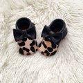 Pelo de caballo Estampado de Leopardo Mocasines Bebé, Zapatos de cuero del bebé