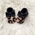 Pony Hair Leopard Print Baby Moccasins, Baby leather Shoes