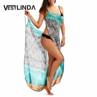 VESTLINDA Summer 2017 Casual Beach Long Dress Women Zebra Print Sleeveless Backless Sexy Dress Femme Party
