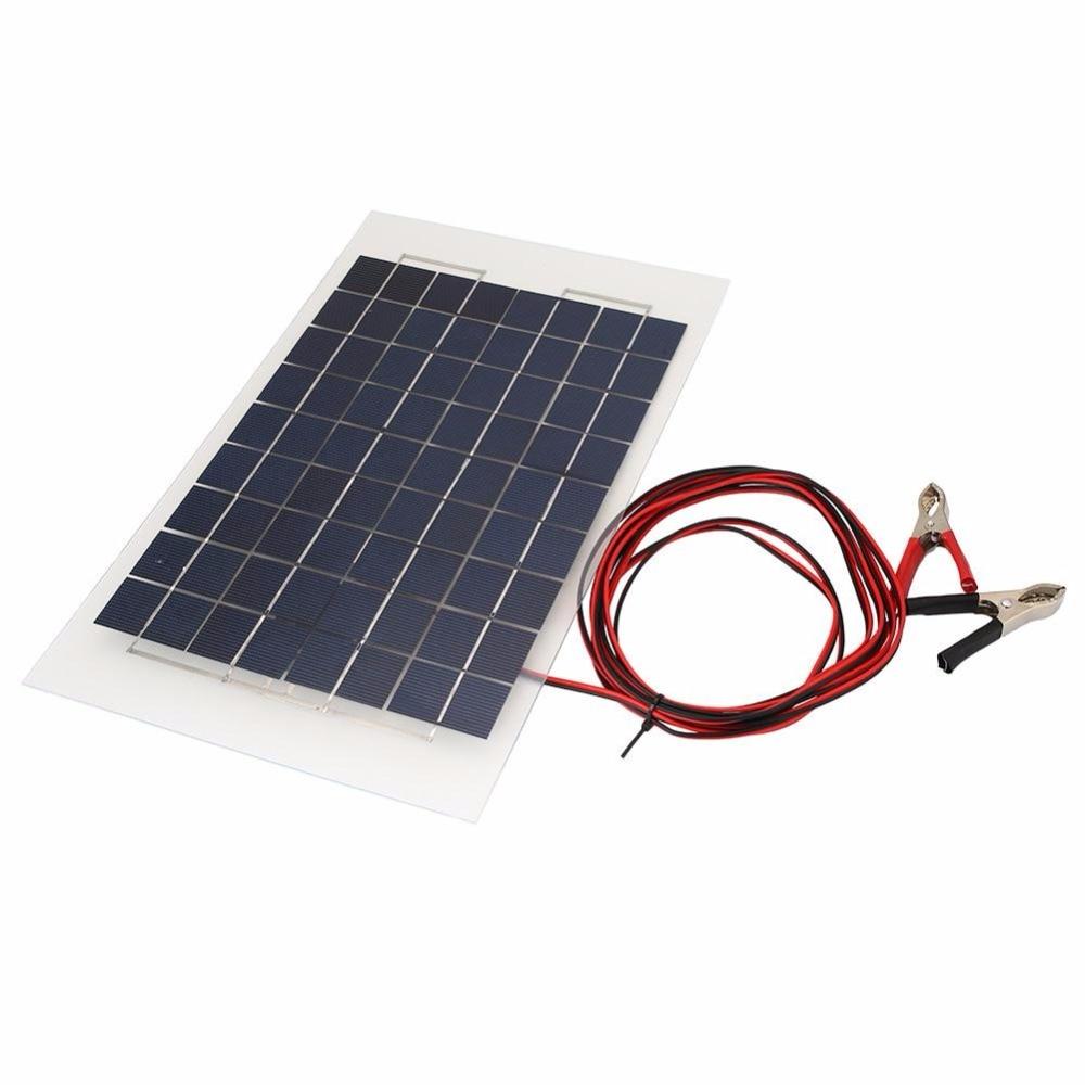 где купить  Portable 18V 10W Solar Panel Bank DIY Solar Charger Panel External Battery for Car W/Crocodile Clips  дешево
