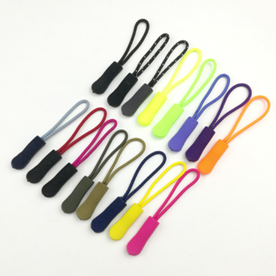 Colorful Silicone Rubber Zipper Pull Ropes Zip Puller Fastener Backpack Luggage 10Pcs For DIY Clothing Accessories