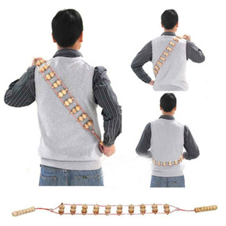 Wooden massager, hand pulled triangle pull back massager, solid wood does not ask for back itch, massage artifact 4d massager