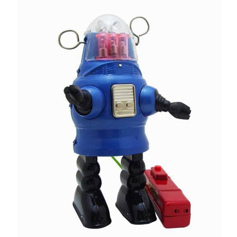 все цены на Vintage Clockwork Wind Up Robot toys Photography Children Kids Adult Robot Tin Toys Classic Toy Christmas Gift