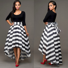 New A line fashion black and white stripe elegant skirt women 2019 hot selling  front high back low asymmetrical Mesh