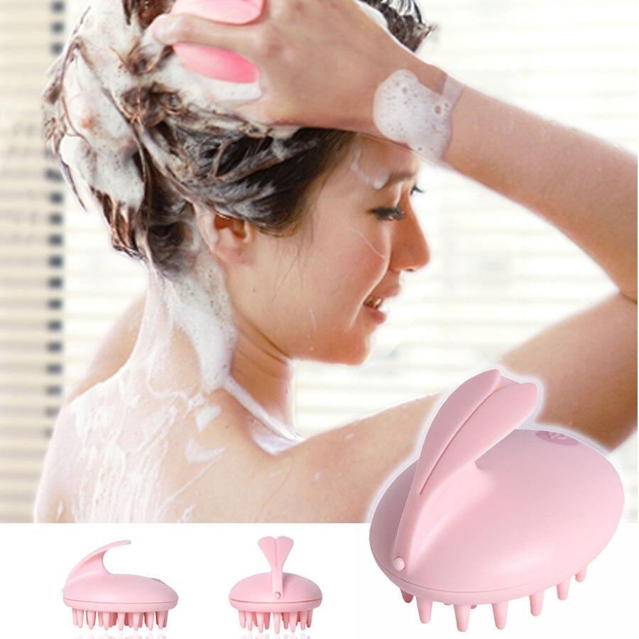 1Pcs Massage Head  Waterproof Electric Scalp Stimulate Vibrator Shower Bath Rubber Comb Brush Hair Clean Massager dog shower bath brush comb pet puppy hair grooming massage rubber glove