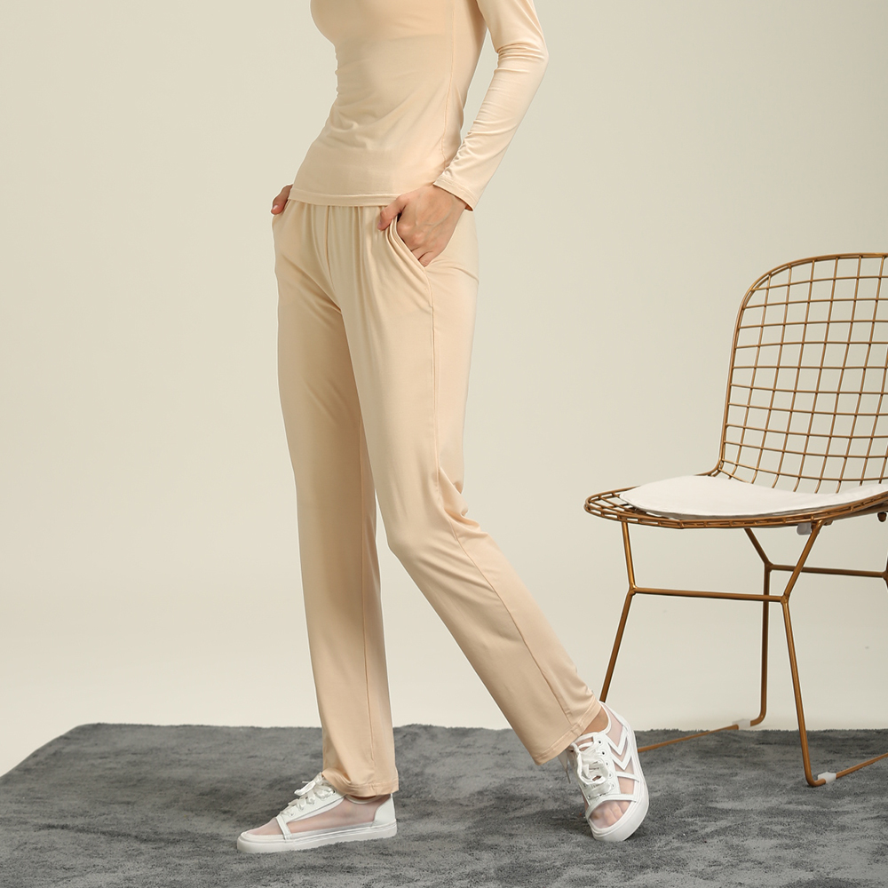 Autumn And Winter Models Women Modal Knit Cotton Elastic Waist Pajamas Large Size Home Pants Can Be Worn Casual Pants