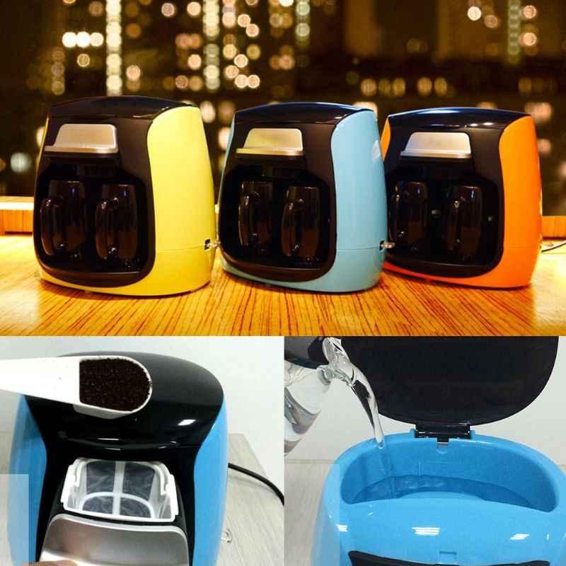 Полностью автоматическая Бытовая кофеварка с двумя чашками, американская кофемашина