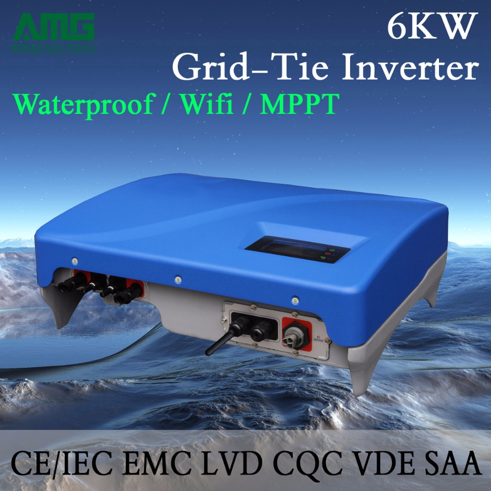 6KW(6000W) Grid Tie Solar Power Inverter with Dual MPPT Waterproof IP65  Wifi Default Conversion, GPRS optional 5000w single phrase on grid solar inverter with 1 mppt transformerless waterproof ip65 lcd display multi language