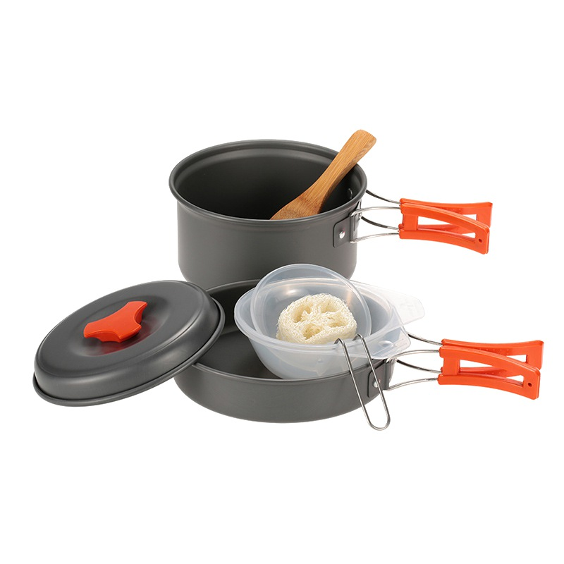 8 Pcs/set Lightweight Camping Cookware Mess Kit Backpacking Gear Hiking Outdoors Out Bag Cooking Equipment Wild Camping Pot Drip-Dry