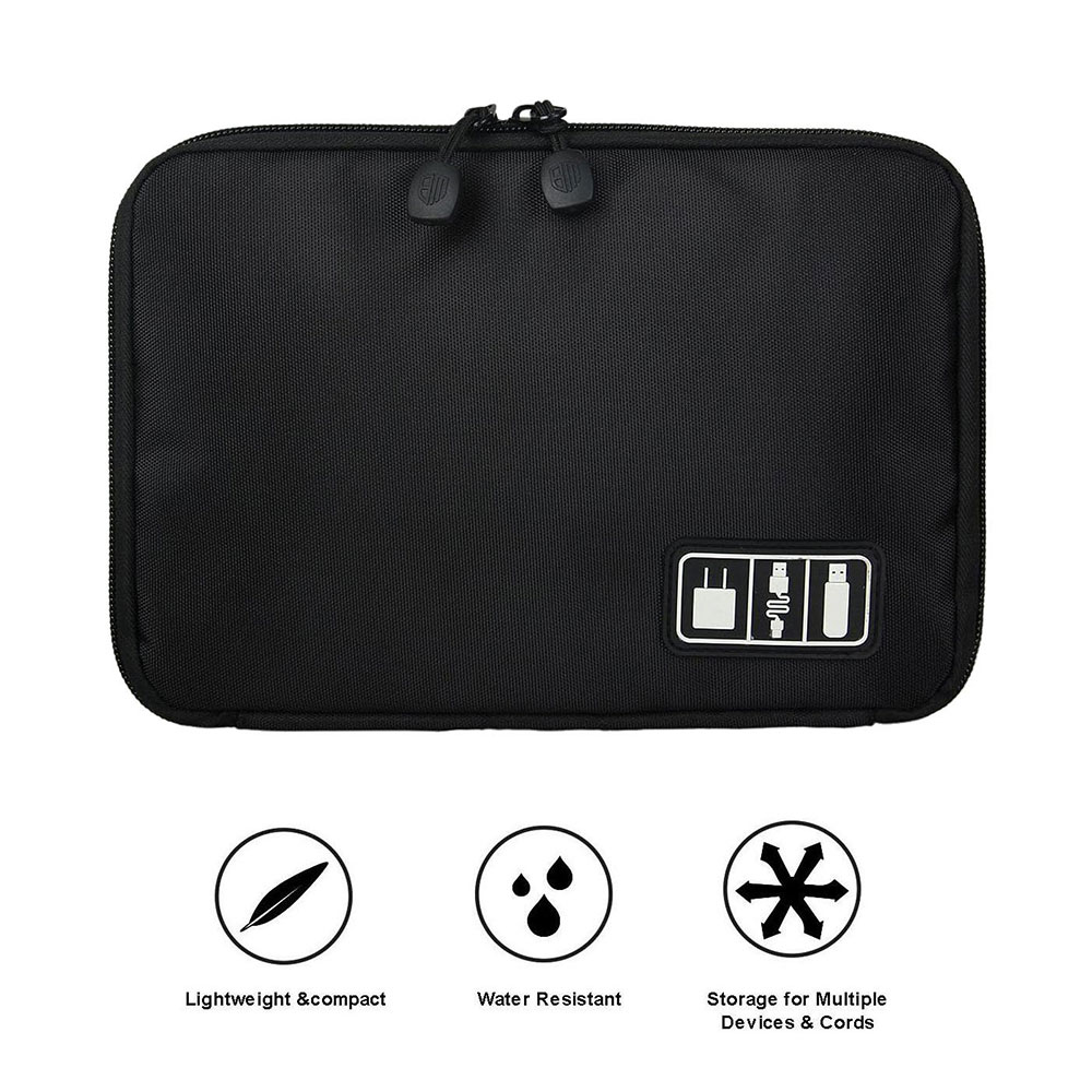 Black Cable Organizer Electronics Accessories Travel Bag USB Drive Bag Healthcare Grooming Kit Winder Management Storage Case (2)