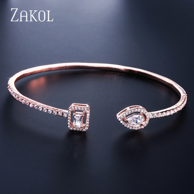 ZAKOL Brand Fashion Design Jewelry Set Sparking CZ Stone Earrings Bracelet & Bangle Ring For Women 4
