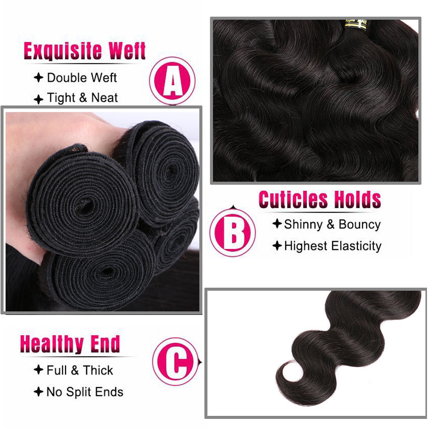 Malaysian Body Wave With Frontal Closure 3 Bundles 8a 13x4 Body Wave Lace Frontal Malaysian Virgin Hair With Closure H&J Hair