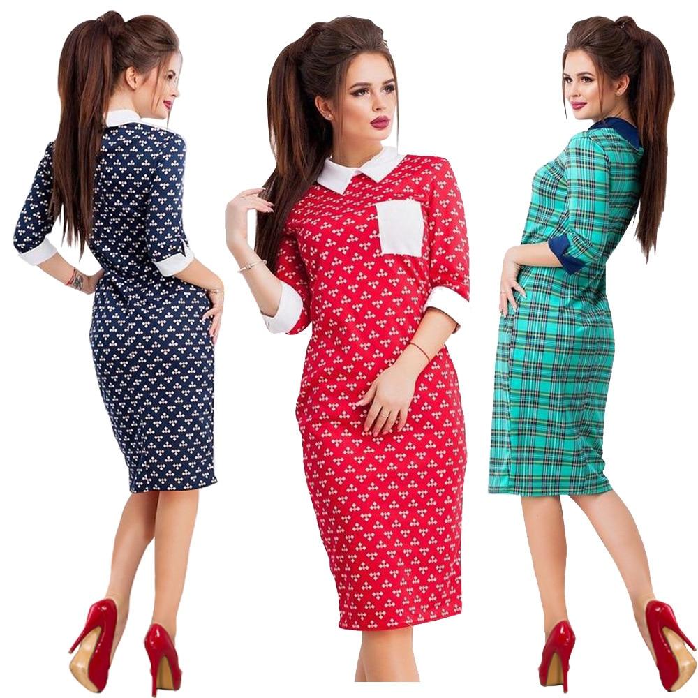 Summer fashion womens dress lapel short sleeve office slim for Office size
