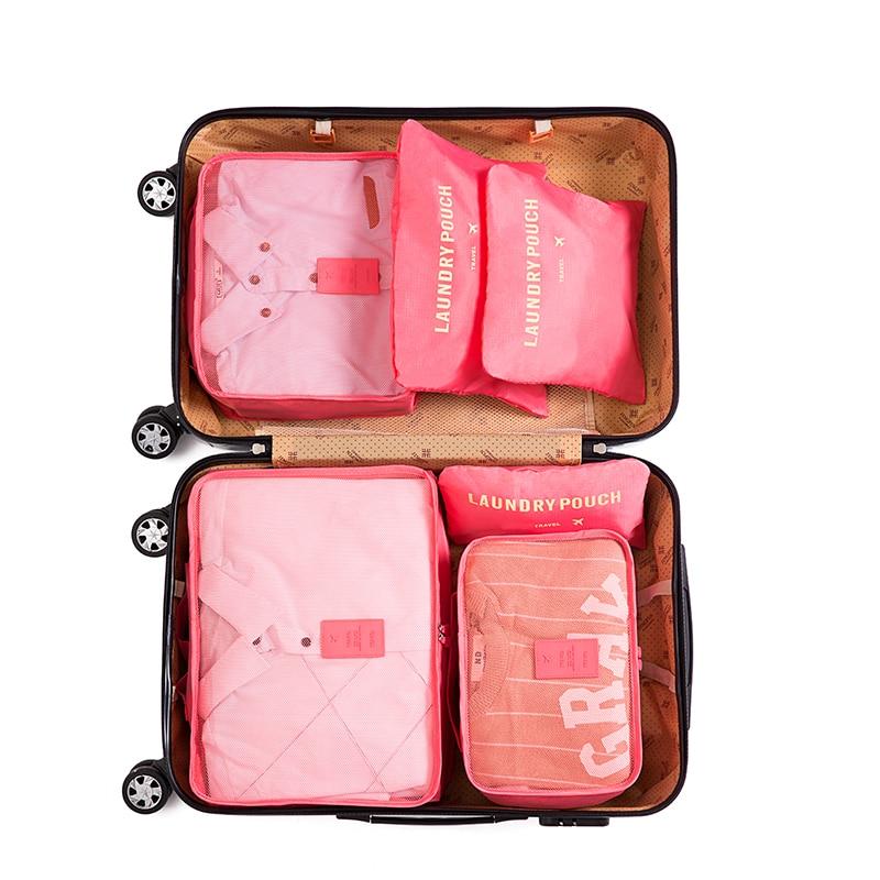 IUX 6pcs / مجموعه کیسه های مسافرتی چمدان زن و مرد شیک و بسته بندی بسته بندی دو برابر زیپ سازمان دهنده پلی استر ضد آب