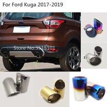 Traseira do carro de volta aço inoxidável capa silenciador tubo saída dedicar ponta escape 2 peças para ford kuga escape 2017 2018 2019 2020