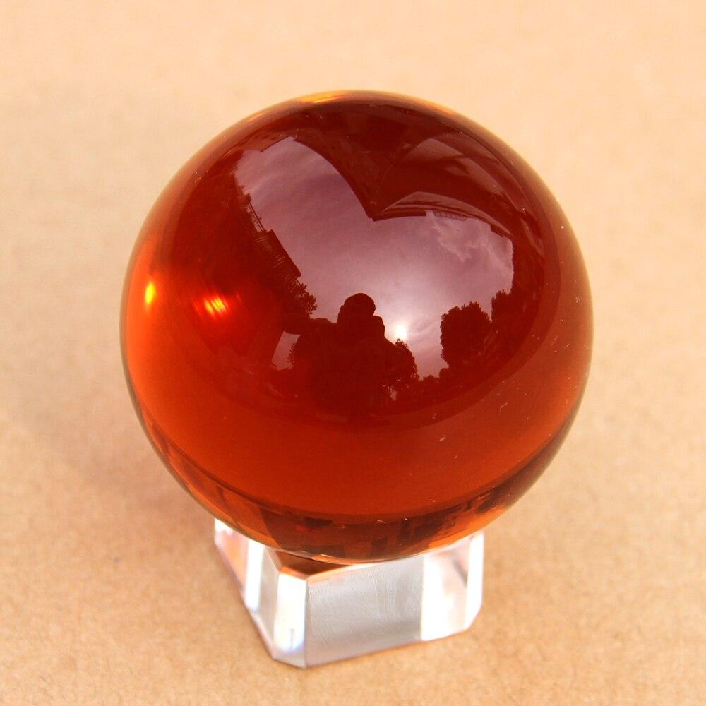 Assez Rare Boule De Verre 60mm Magie Naturelle Guérison Ambre Couleur Cristal Sphère Balls Quartz Avec Cristal/En Bois Enlever Stand Artisanat