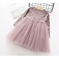 Spring Autumn Girls Dress Kids Clothing Fashion Solid Color Velvet Style Dresses Long Sleeves Waist Lace