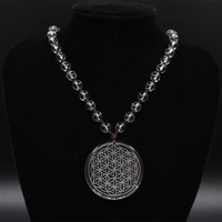 35mm Natural Clear White Quartz Crystal Flower Of Life Pendant Men Women Jewelry Carved Healing Free