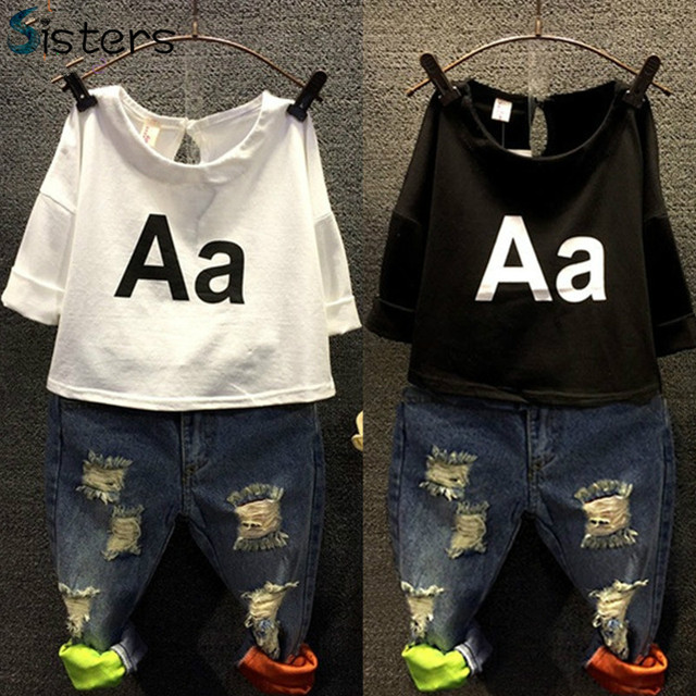 2017 Girls Clothing Set Kids spring t-shirt + jeans 2pcs Holes denim A letter children's summer fashion harajuku baby clothes