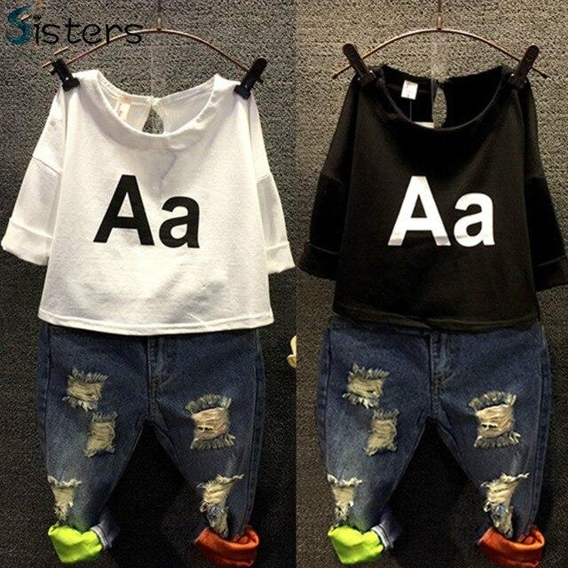 2017 Girls Clothing Set Kids spring t-shirt + jeans 2pcs Holes denim A letter children's summer fashion harajuku baby clothes