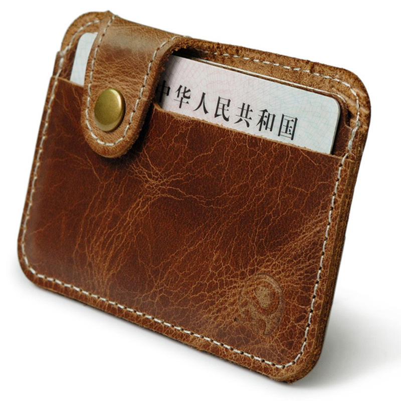 100% Real Leather Retro Bank Credit Card Holder ID Pocket Slim Wallet for Cards Men Card Pocket Bus Cardholder ...