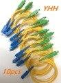 10 pcs SC/UPC-SC/APC-3.0mm-PVC-SM-Yellow-1m Patchcord Fibra Óptica/Jumper