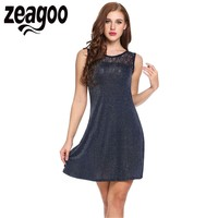 Zeagoo Elegant Sleeveless O Neck Women Dress 2017 Sexy Hollow Lace Patchwork Glitter Evening Party Casual