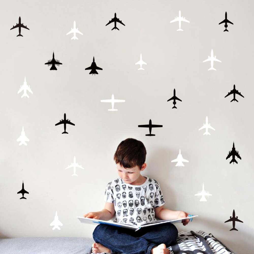 Multiple Styles Combat Aircraft Small Size Stickers Bedroom Wall Stickers For Kids Rooms Muurstickers Home Decor Sticker Mural
