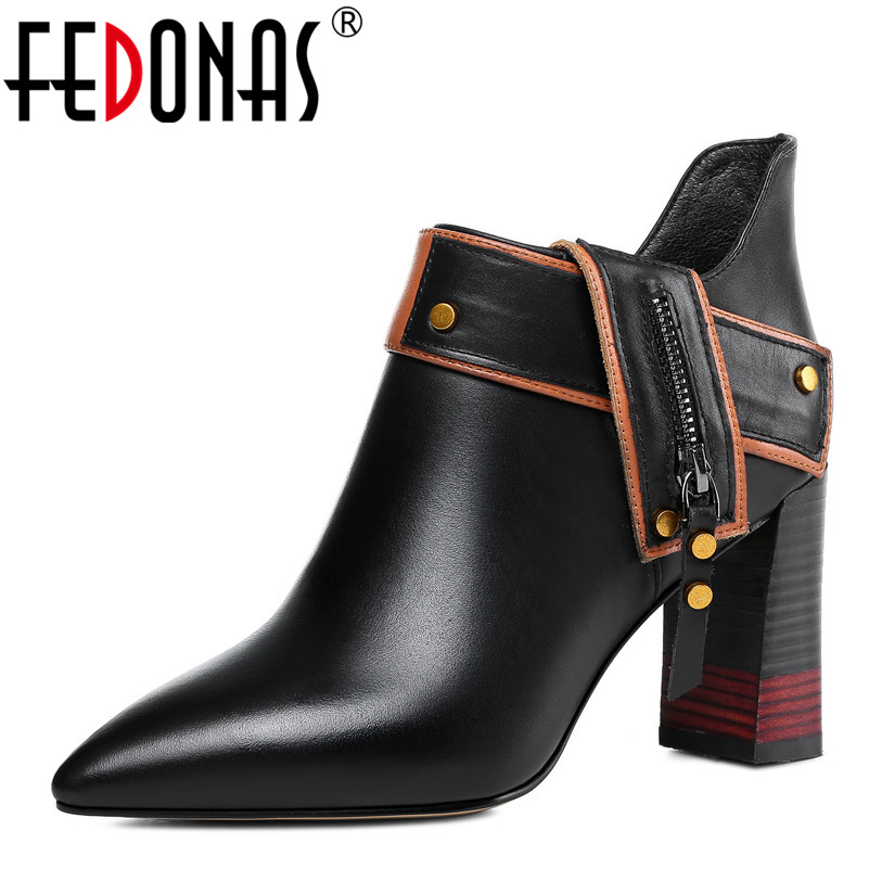 FEDONAS Fashion Women Ankle Boots Genuine Leather Autumn Winter Warm Pointed Toe Elegant High Heels Shoes Quality Basic Boots elegant women low high heels ankle boots pointed toe patchwork autumn winter shoes woman basic motorcycle boots dr b0038