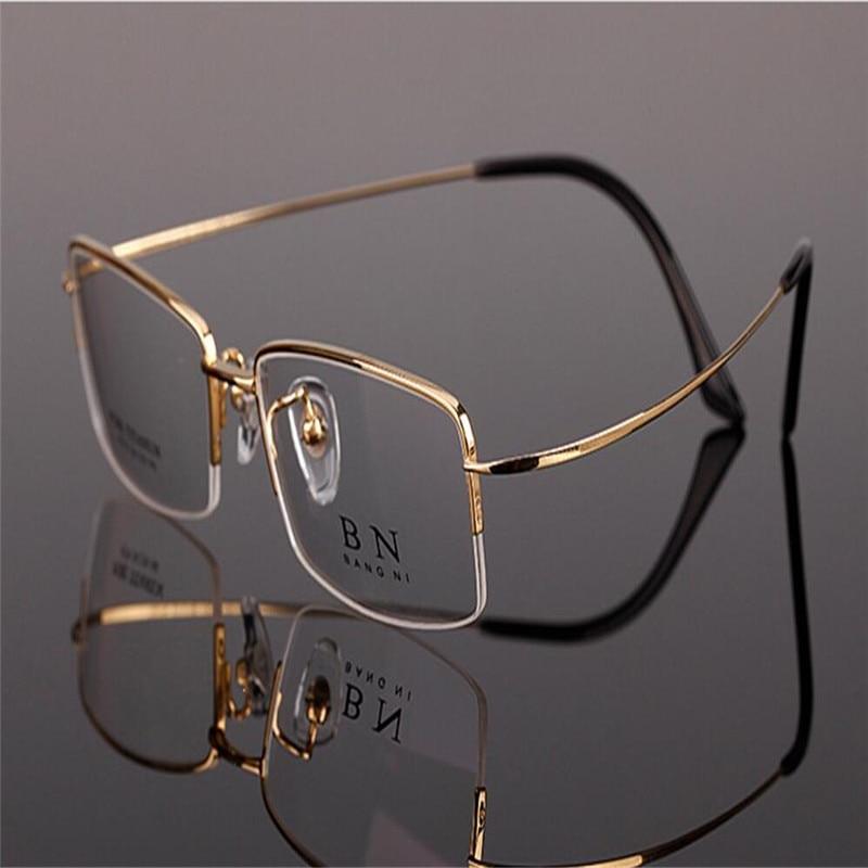 Generous Mongoten Pure Titanium Men Fashion Half Rim Ultralight Aspheric Prescription Optical Eyewear Gold Silver Reading Glasses Frame Men's Glasses Apparel Accessories