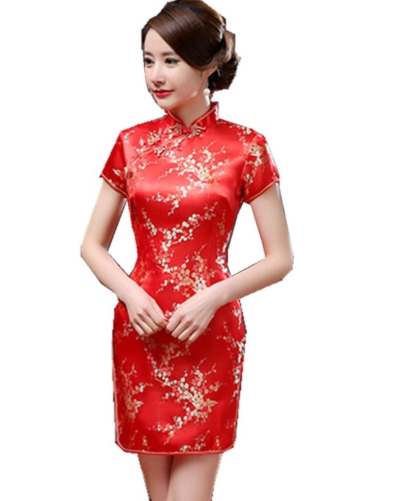 Shanghai Story Womens Short Cheongsam Qipao Traditional Chinese Dress Plus Size mandarin collar short sleeve Multicolor vacation
