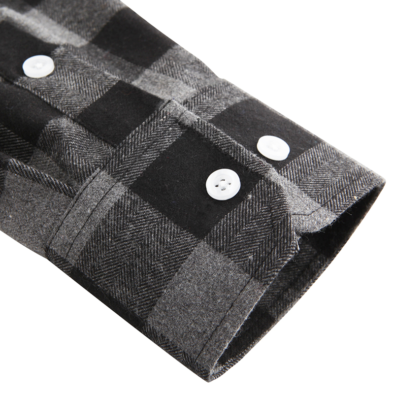 Dioufond Mens Pocket Flannel Plaid Cotton Shirt Long Sleeve Checkered Casual Slim Fit Black Warm Autumn Winter Shirts New 4
