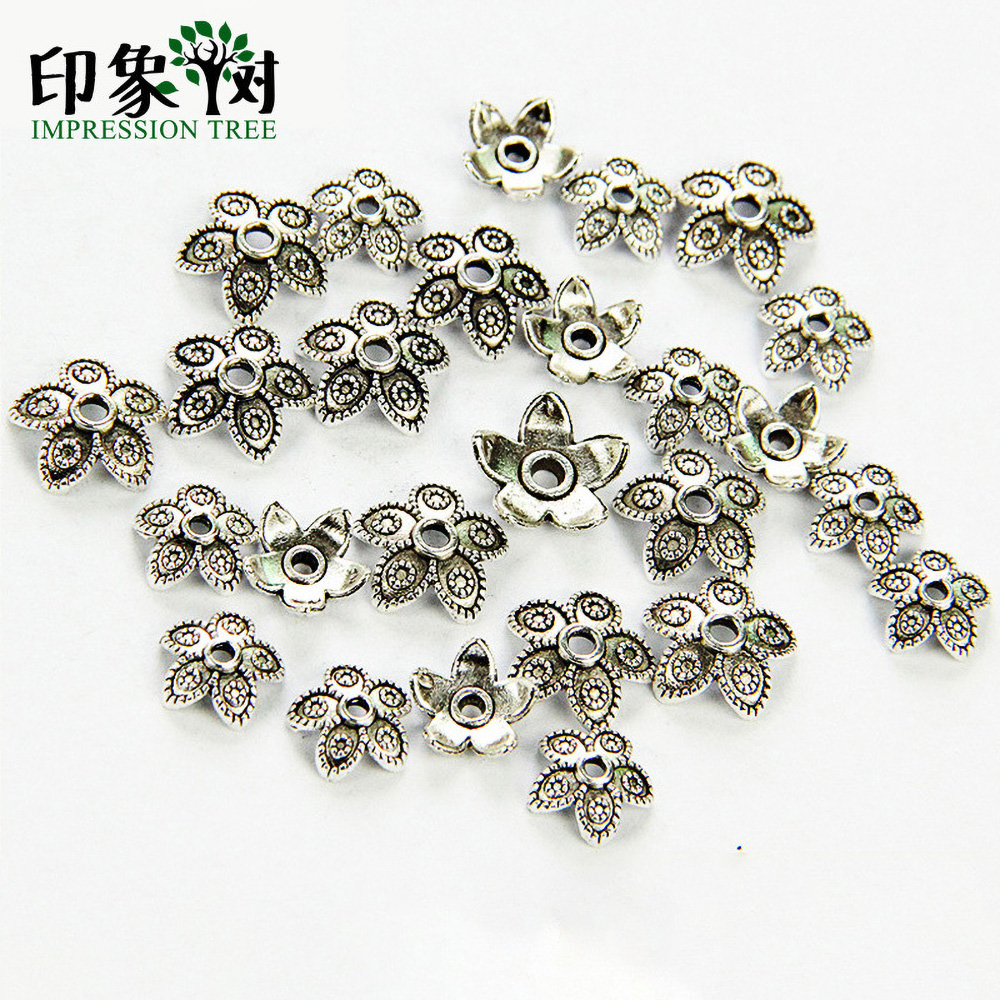 8/11mm Zinc Alloy Silver Flower Star Spacer End Beads Caps Charms For Jewelry Making Bracelet Accessories 848