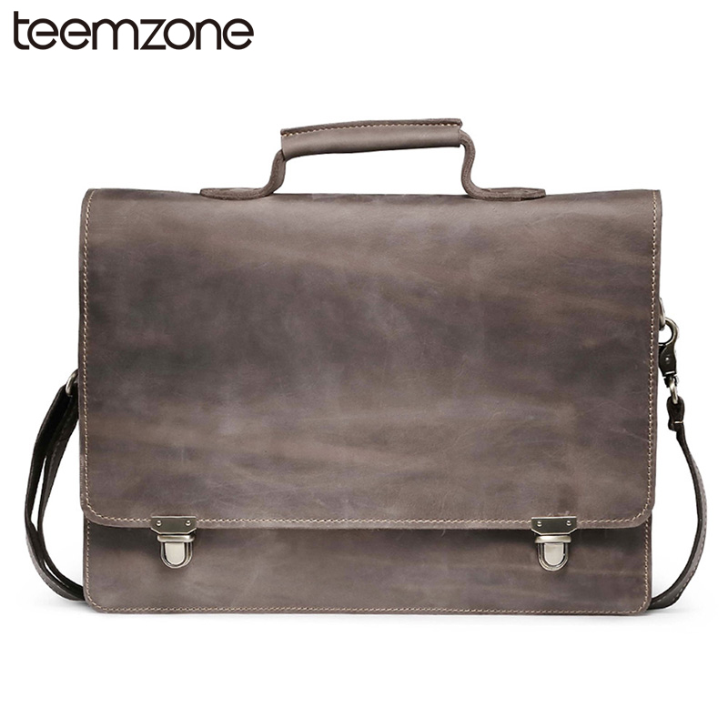 Lelaki Crazy Horse Kulit Tulen Vintage Zipper Laptop Portable Bahagia Messenger Shoulder Attache Portfolio Bag Penulis T8883