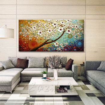 Canvas Painting Hand Painted palette knife 3D texture Flower Tree Wall Pictures For Living Room Christmas decorations for home41