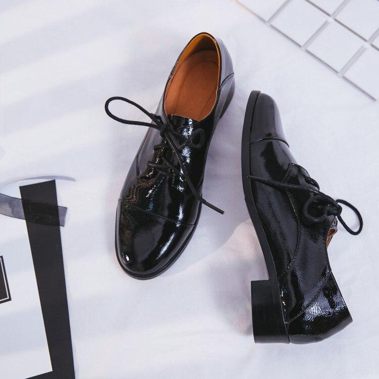 Mulheres Flats 2019 Couro Genuíno Estilo Britânico Sapatos Oxford Mulheres Oxfords Primavera Calcanhar Plana Sapatos Casuais Rendas Até As Mulheres Sapatos - 2