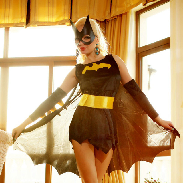 Women Batman Costume Superhero Cosplay Roleplay Game Uniforms Adult Halloween Costume Free Size Sexy Fashion Minidress WW01455