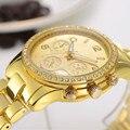 2016 Top Luxury Rhinestone Mujeres Del Reloj Relojes de Moda Reloj de Oro Reloj de Cuarzo de Acero Completo Horas relogio feminino montre femme