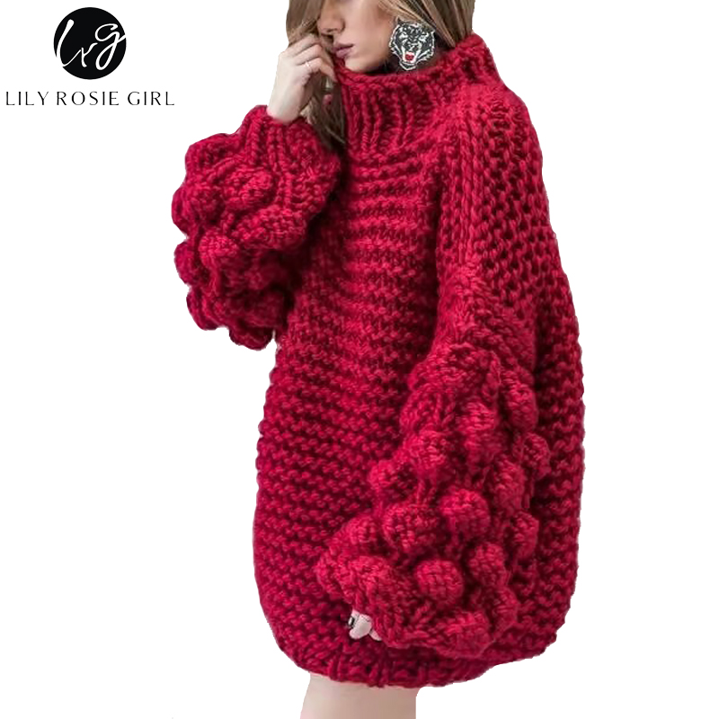 Lily Rosie Girl Casual Long Lantern Sleeve Women Red Thick Sweaters 2017 Autumn Winter Warm Grey Jumper Knitted Pullover Sweater lily rosie girl pink knitted sexy split women sweater dresses long sleeve mini bodycon dress 2017 autumn winter party vestidos