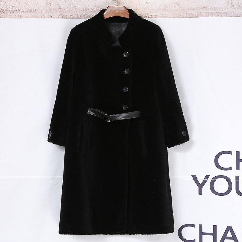 Manteaux Beige Réel Z453 Femme Outwear De Camel Mode Femmes light Chaud Laine noir Coréenne Tonte Fourrure Des D'hiver Veste Vestes Moutons Manteau Nouveau UnzHwxH