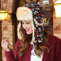 HT018 New Winter Russian Fur Cap Women Warm Ushanka Hats Outdoor Female Riding Ski Cap Hats with Earflap Love Printed Bomber Hat